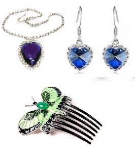 Titanic Heart of the Ocean Pendant, Earring, Hair comb set